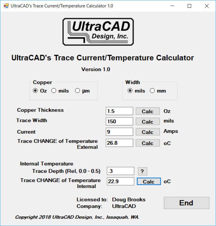 UltraCAD's Trace Current/Temperature Calculator
